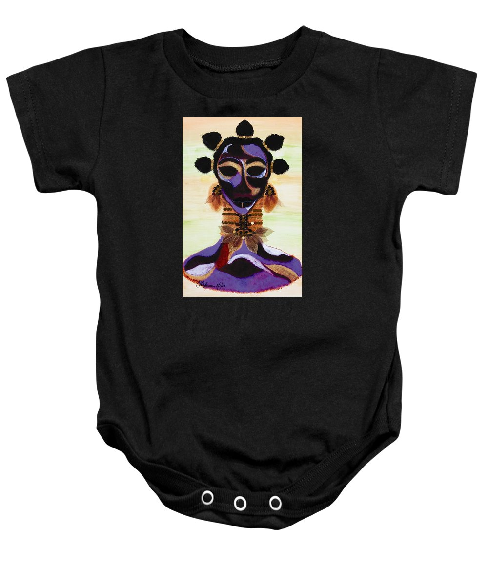 Fulani Baby Onesie featuring the painting Fulani by Carla J Lawson