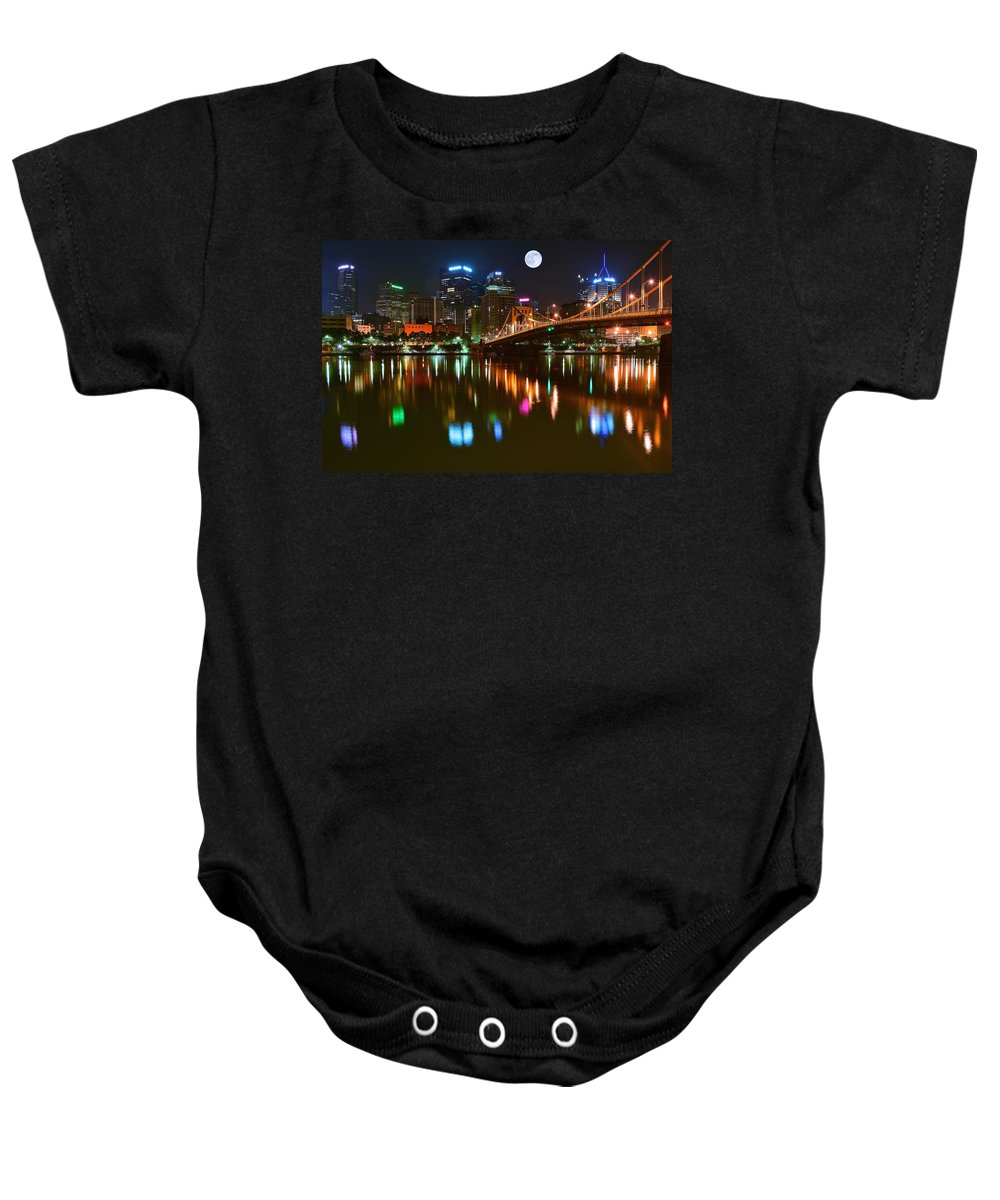 Pittsburgh Baby Onesie featuring the photograph Full Moon Over Pittsburgh by Frozen in Time Fine Art Photography