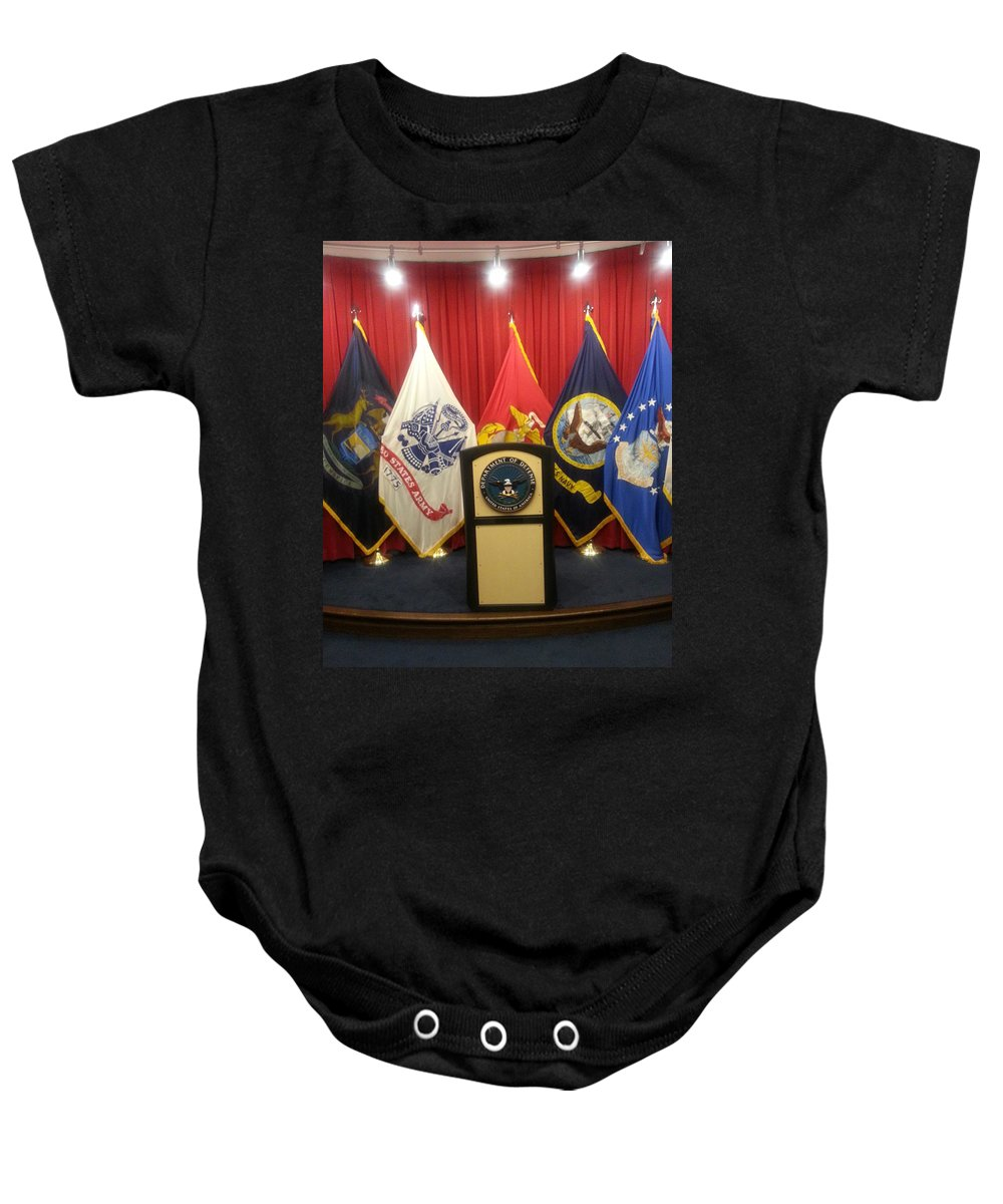 Us Coast Guard Baby Onesie featuring the digital art Full View Swearing In Flags by Blue Doves