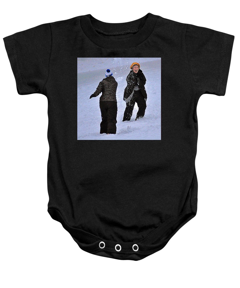 Woman Baby Onesie featuring the photograph Fun In The Snow by John Hughes