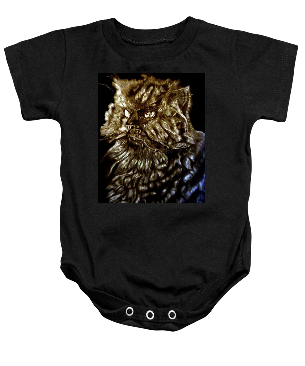 Cat Baby Onesie featuring the drawing Fur Ball by Herbert Renard