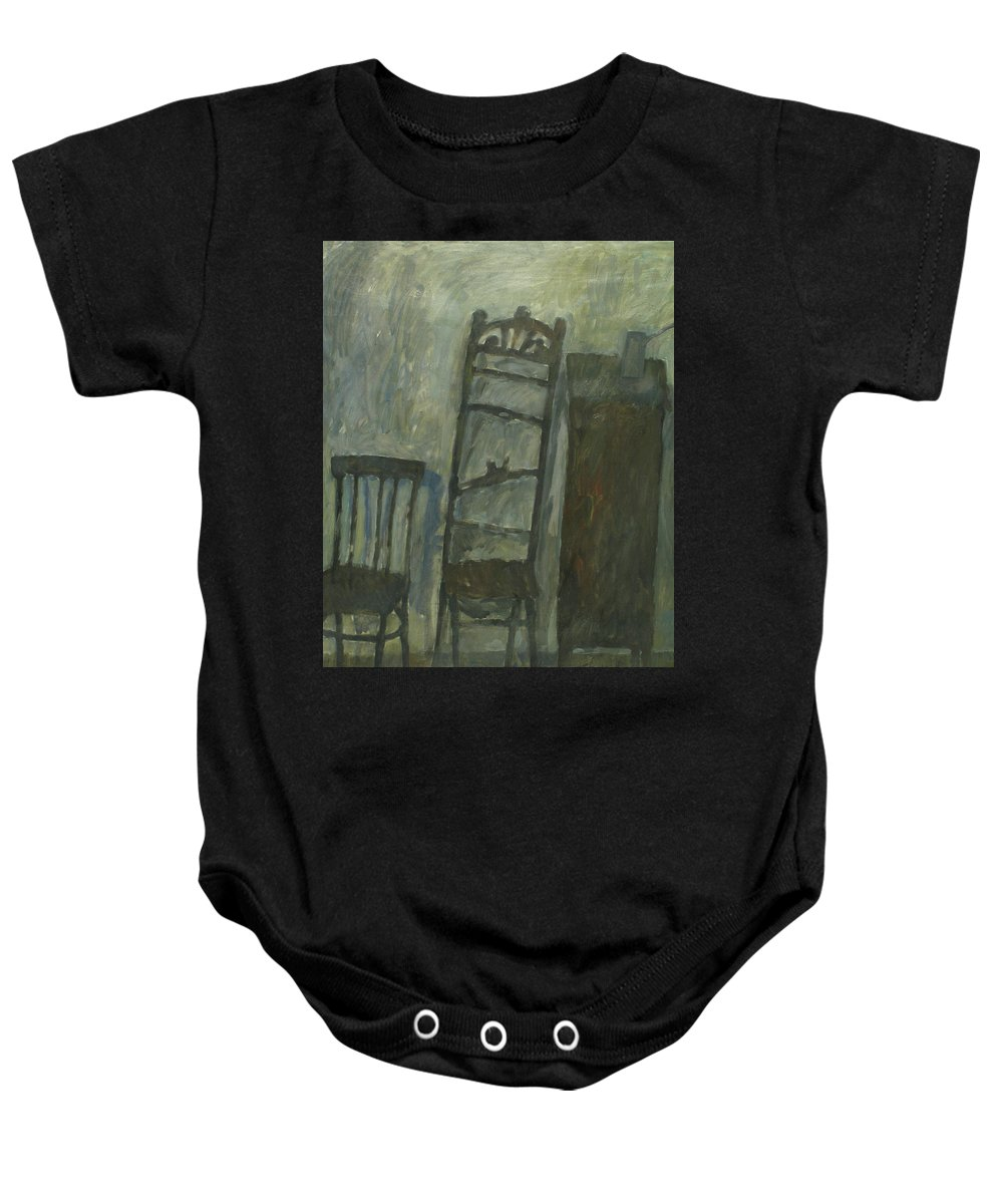 Old Furniture Baby Onesie featuring the painting Furniture by Robert Nizamov