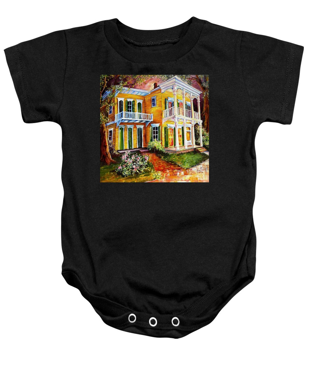 New Orleans Paintings Baby Onesie featuring the painting Garden District Home by Diane Millsap
