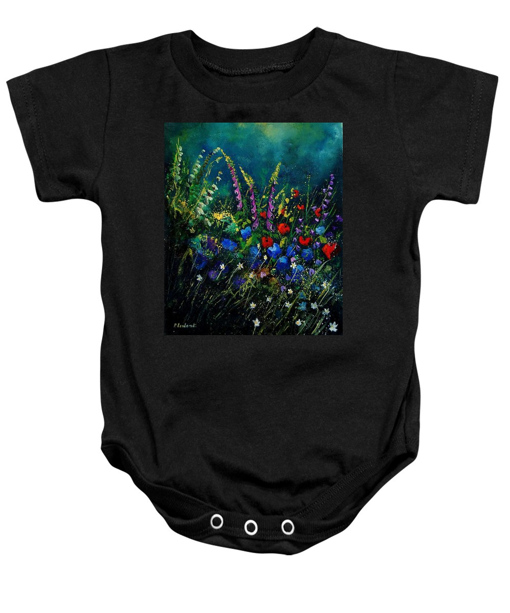 Flowers Baby Onesie featuring the painting Garden Flowers 56 by Pol Ledent