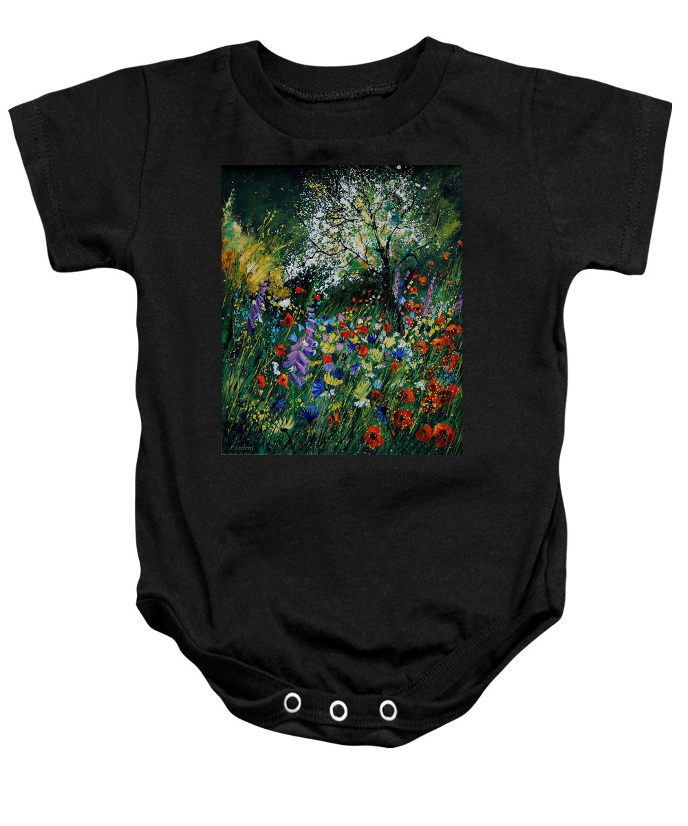 Flowers Baby Onesie featuring the painting Garden Flowers by Pol Ledent
