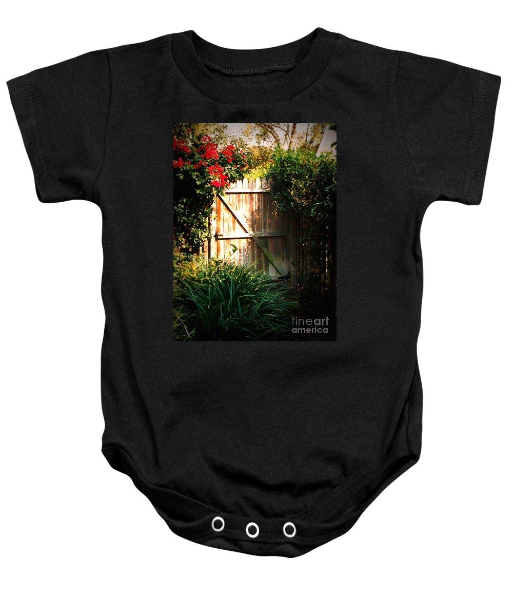 Garden Gate Baby Onesie featuring the photograph Garden Gate by Carol Groenen