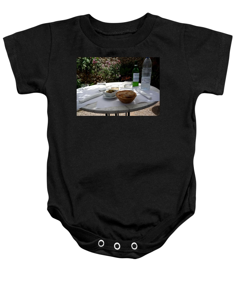 Lunch Baby Onesie featuring the photograph Garden Lunch Mallorca by Charles Stuart
