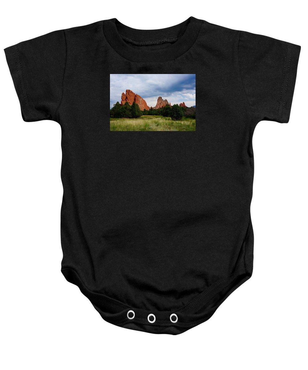 Landscape Baby Onesie featuring the photograph Garden Of The Gods by Kevin Vautrinot