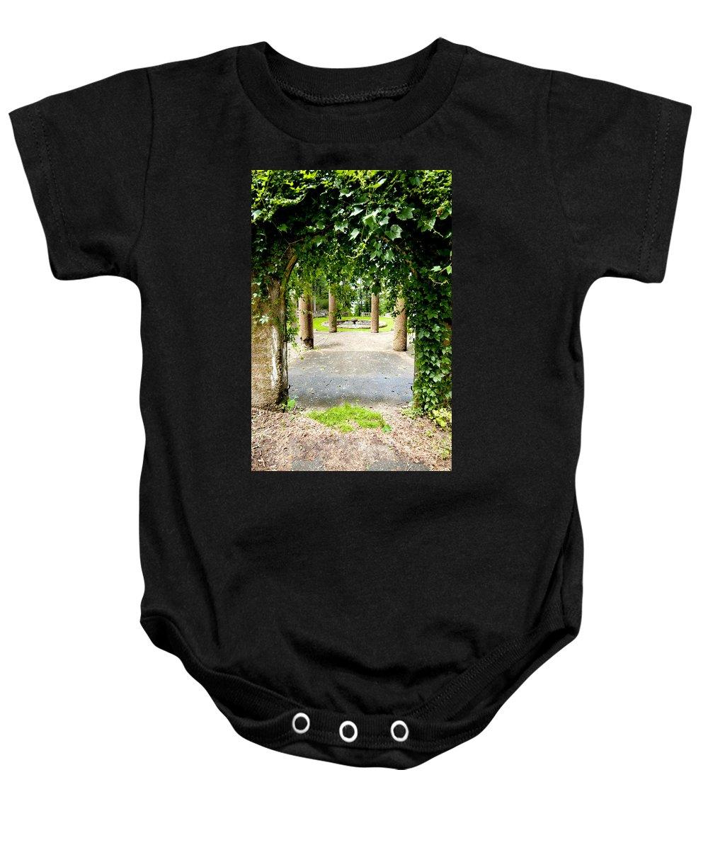 Garden Baby Onesie featuring the photograph Garden Ruins by Greg Fortier