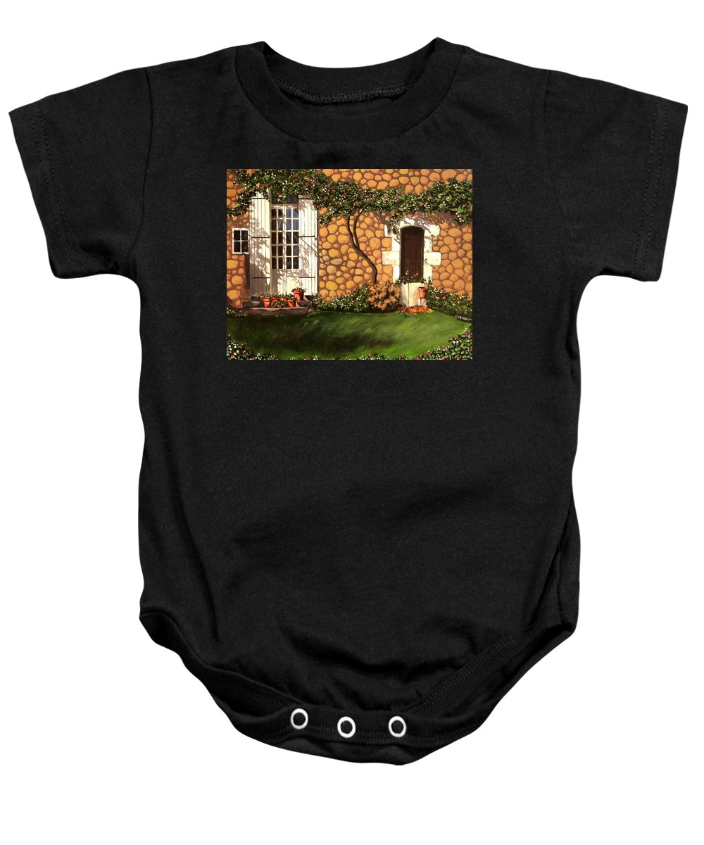 Garden Baby Onesie featuring the painting Garden Wall by Daniel Carvalho