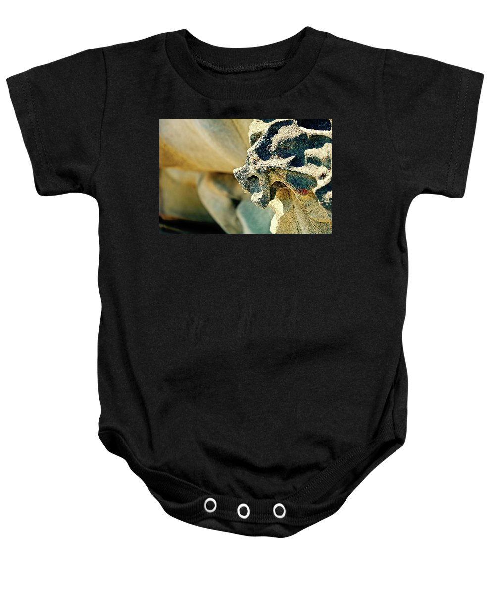 Gargoyle Baby Onesie featuring the photograph Gargoyle Coming Out Of The Rocks Gabriola Island. by Brian Sereda