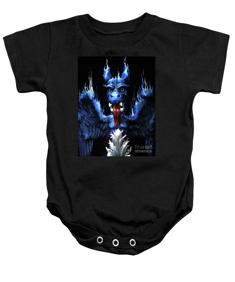 Blue Baby Onesie featuring the photograph Gargoyle by Jim And Emily Bush