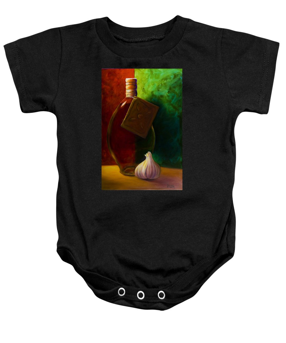 Shannon Grissom Baby Onesie featuring the painting Garlic And Oil by Shannon Grissom