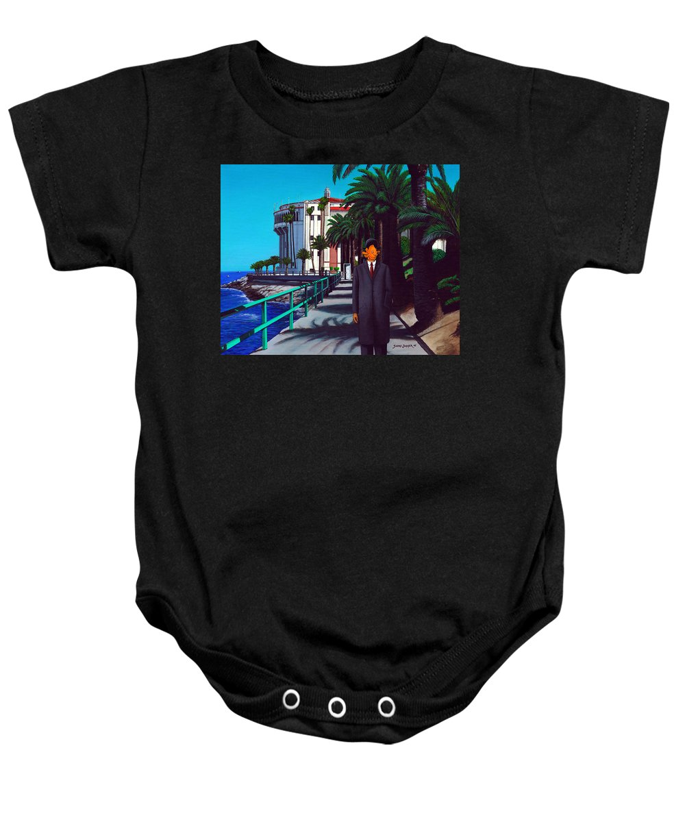 Catalina Baby Onesie featuring the painting Gary Baldie by Snake Jagger