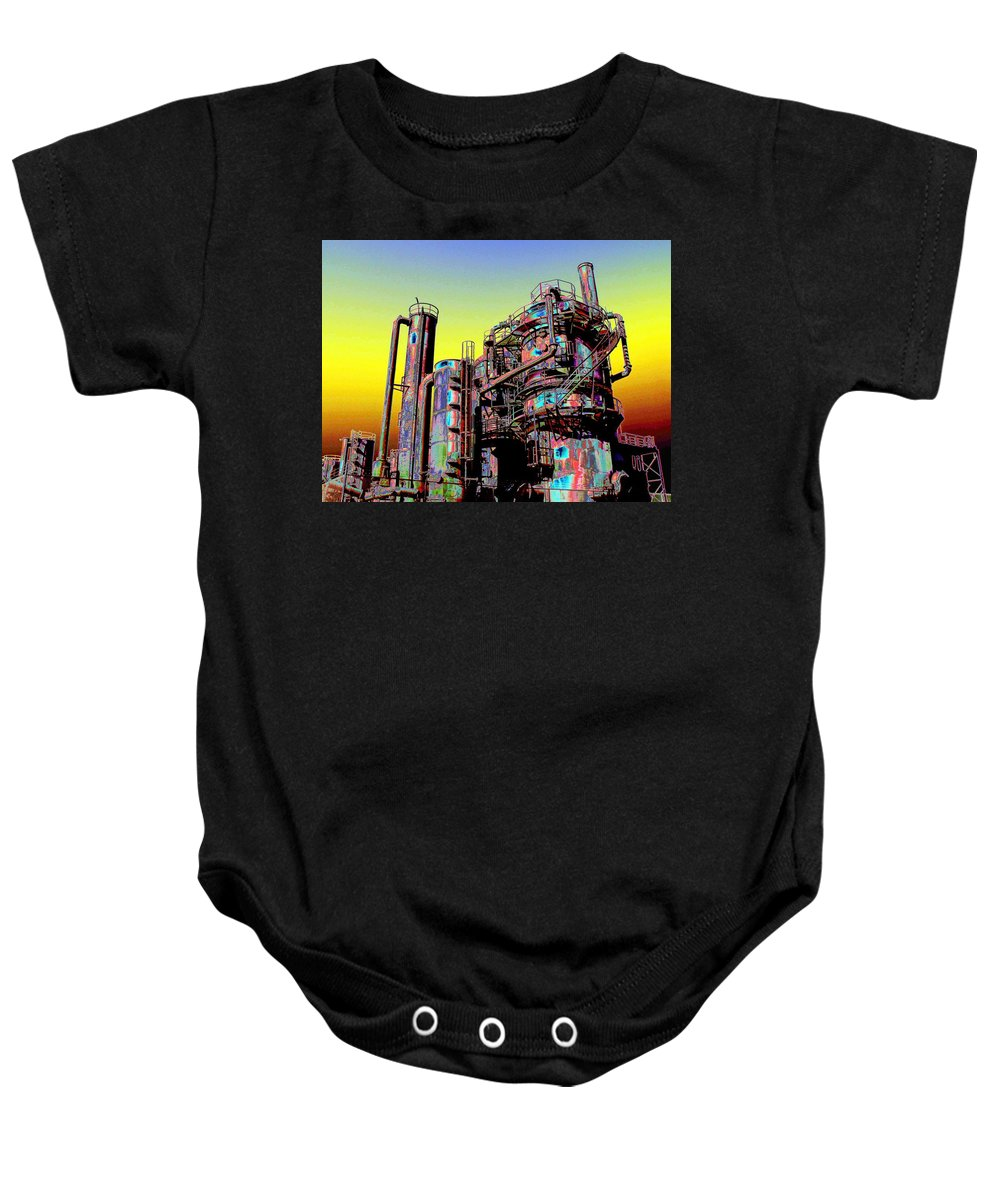 Seattle Baby Onesie featuring the digital art Gasworks Park 1 by Tim Allen