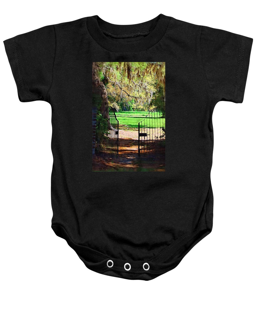Gate Baby Onesie featuring the photograph Gate To Heaven by Donna Bentley