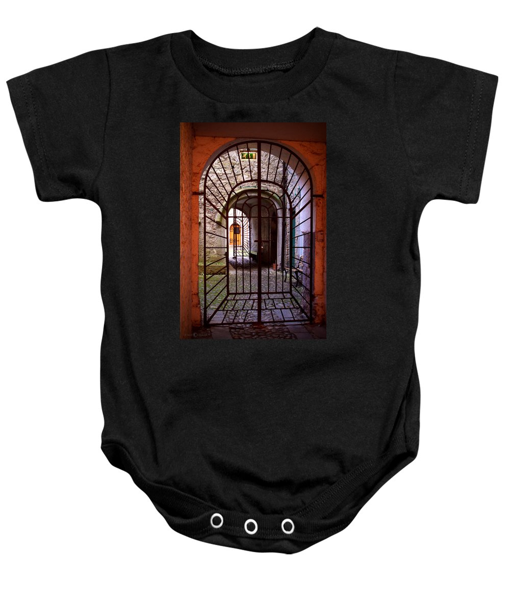 Gate Baby Onesie featuring the photograph Gated Passage by Tim Nyberg
