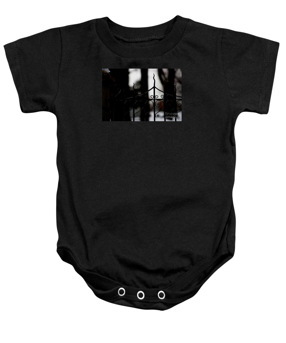 Wrought Iron Baby Onesie featuring the photograph Gated Woods by Linda Shafer