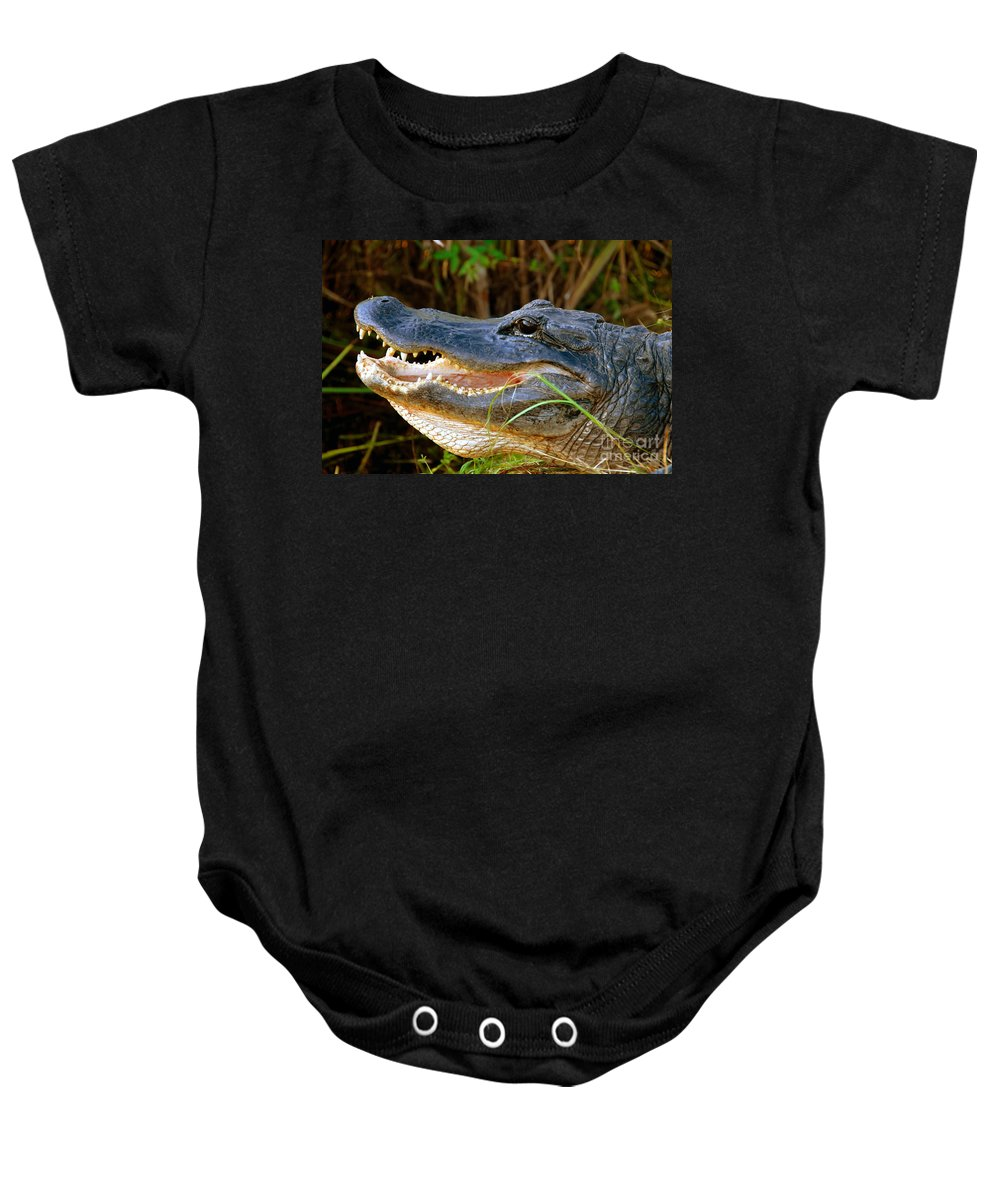 Alligator Baby Onesie featuring the photograph Gator Head by David Lee Thompson