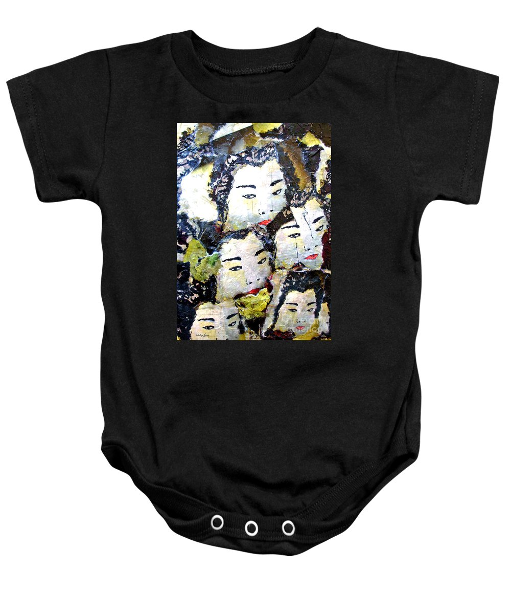Geisha Girls Baby Onesie featuring the mixed media Geisha Girls by Shelley Jones