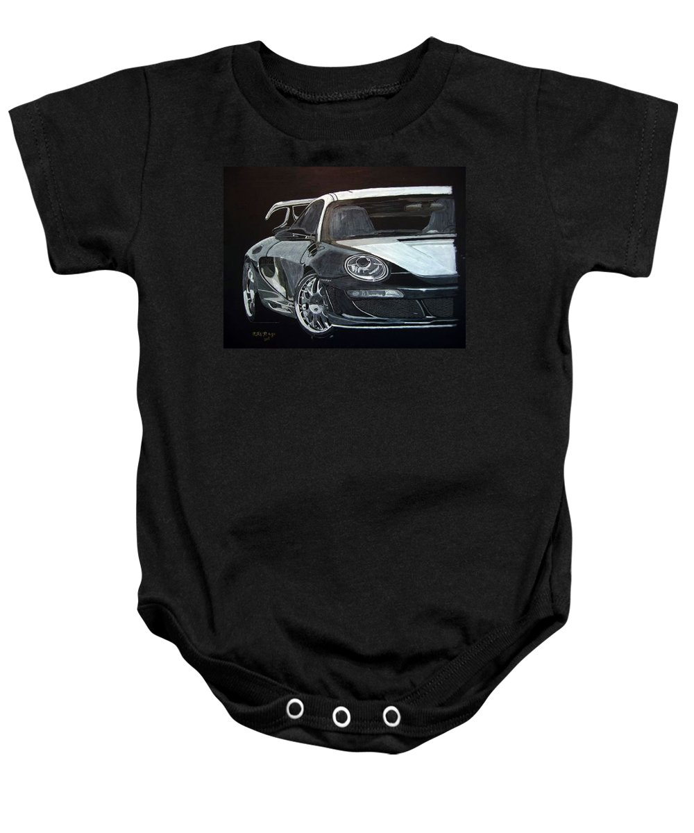 Car Baby Onesie featuring the painting Gemballa Porsche Right by Richard Le Page