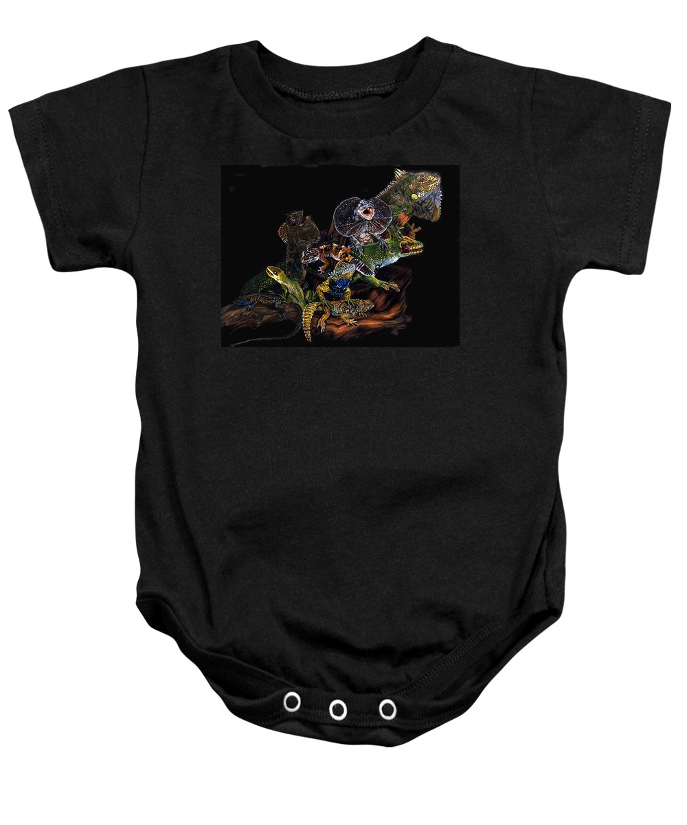 Lizards Baby Onesie featuring the drawing Gems And Jewels by Barbara Keith