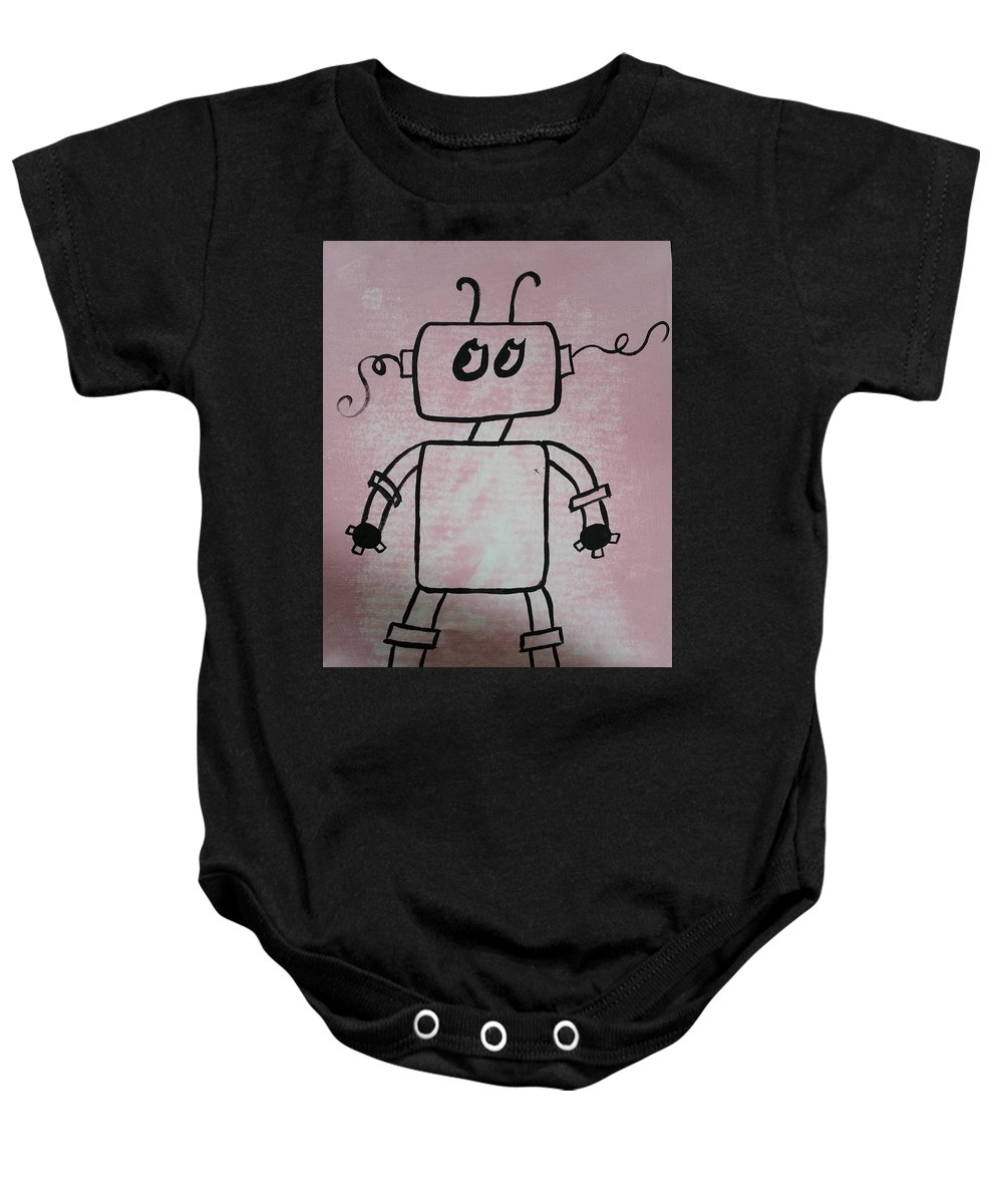 Pink Baby Onesie featuring the painting Gender Neutral by Kelly Brimberry