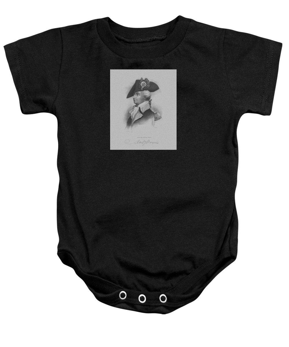 Revolutionary War Baby Onesie featuring the mixed media General Anthony Wayne by War Is Hell Store