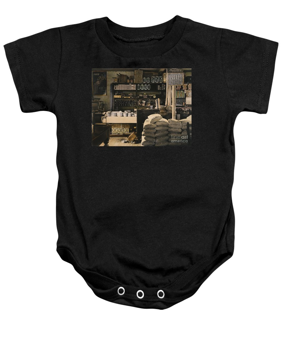 1936 Baby Onesie featuring the photograph General Store, 1936 by Granger