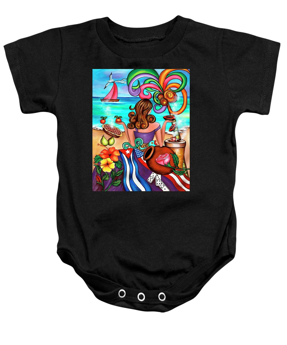 Cuba Baby Onesie featuring the painting Generation Spanglish by Annie Maxwell