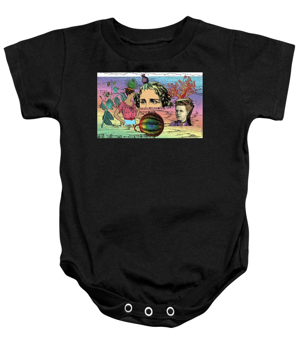 Digital Collage Baby Onesie featuring the digital art Geobotanical Fashions by Eric Edelman