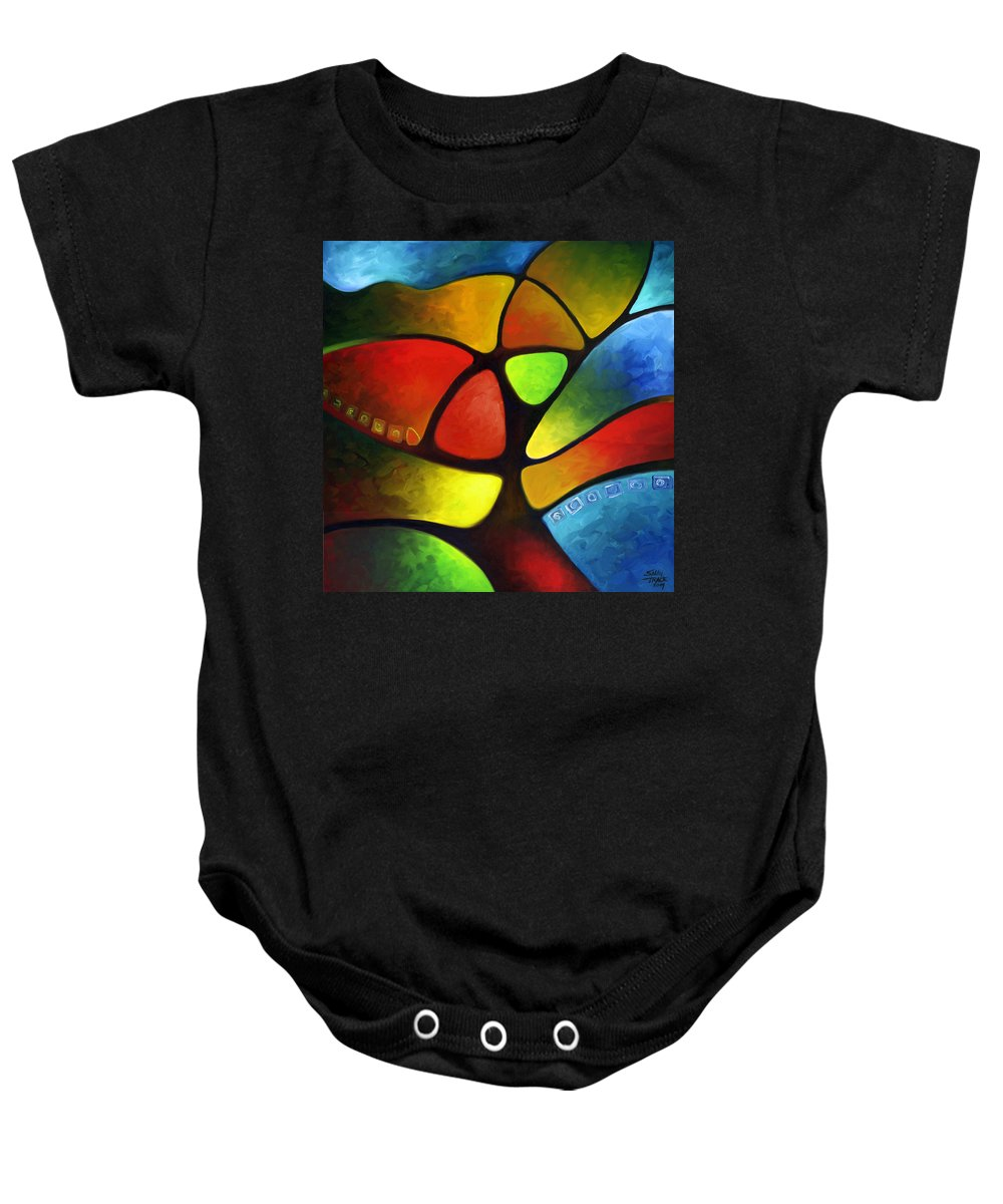 Tree Baby Onesie featuring the painting Geometree by Sally Trace