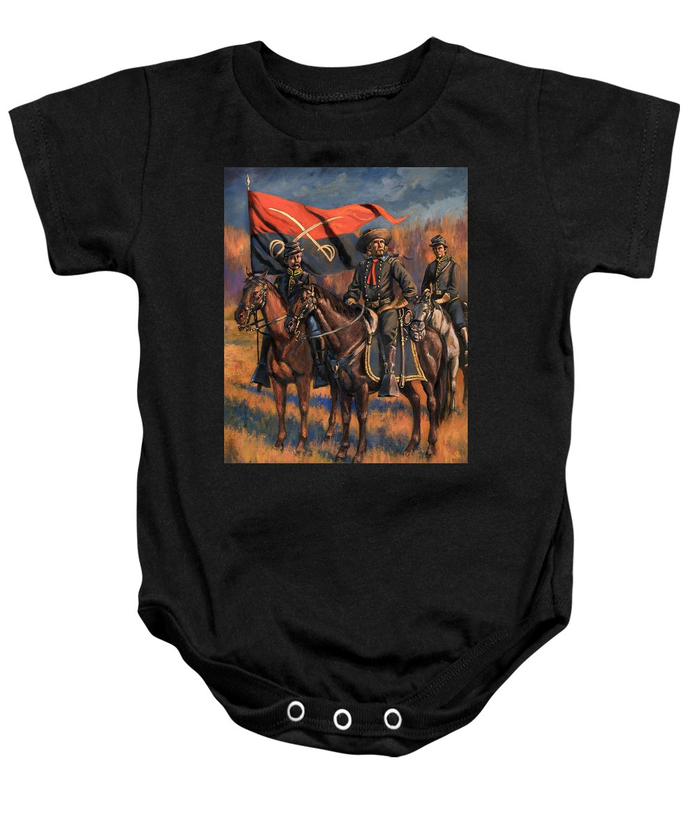 Civil War Baby Onesie featuring the painting George Armstrong Custer by Mark Maritato