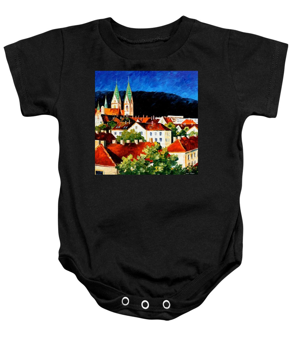 City Baby Onesie featuring the painting Germany - Freiburg by Leonid Afremov