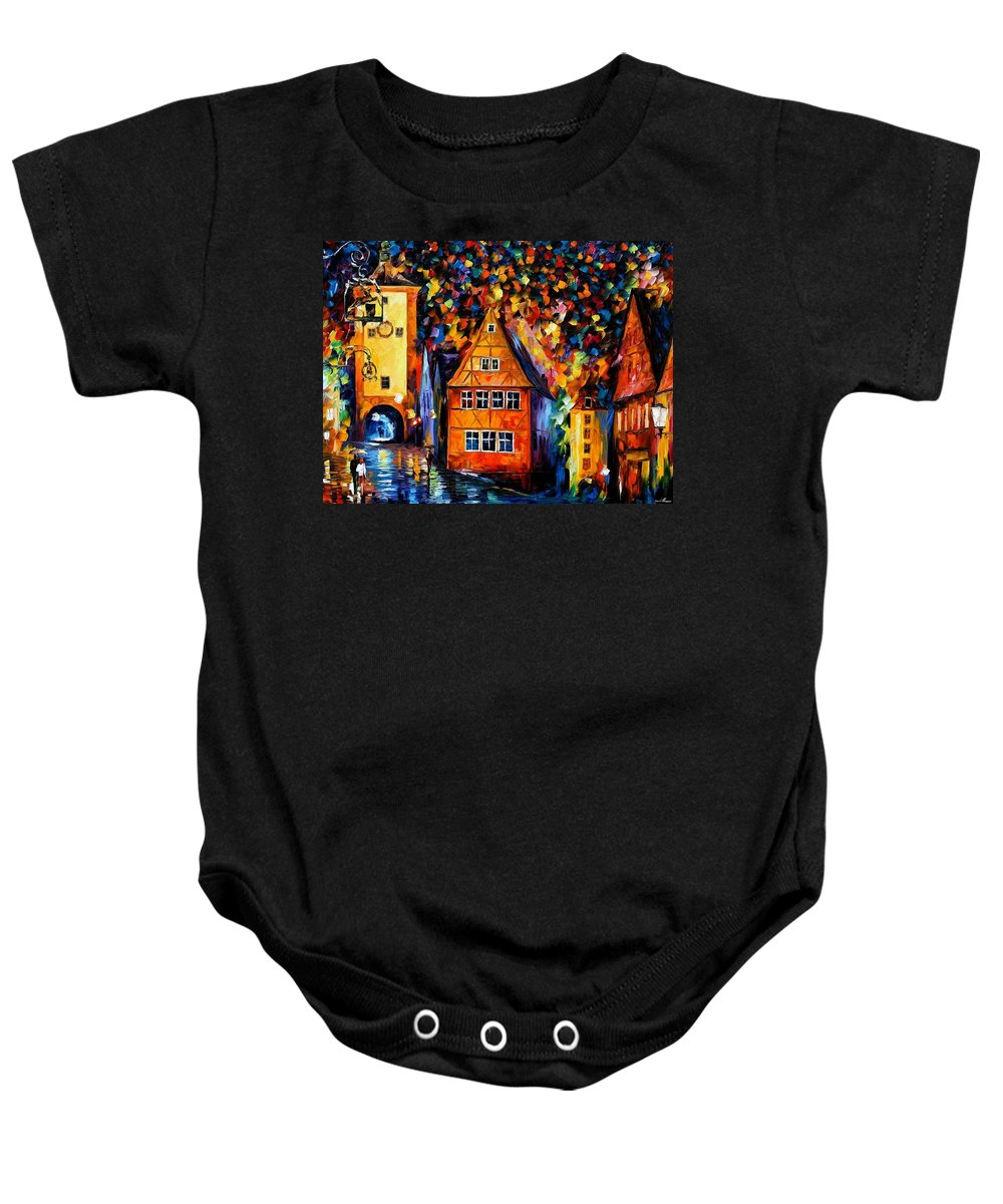 Afremov Baby Onesie featuring the painting Germany - Medieval Rothenburg by Leonid Afremov