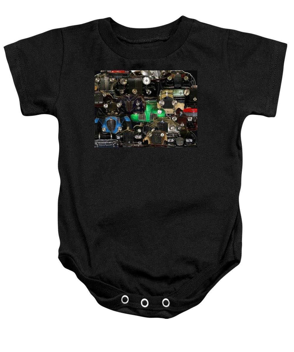 Car Grill Hood Vehicles Classic Automobile Baby Onesie featuring the photograph Gettin Grilled by Andrea Lawrence