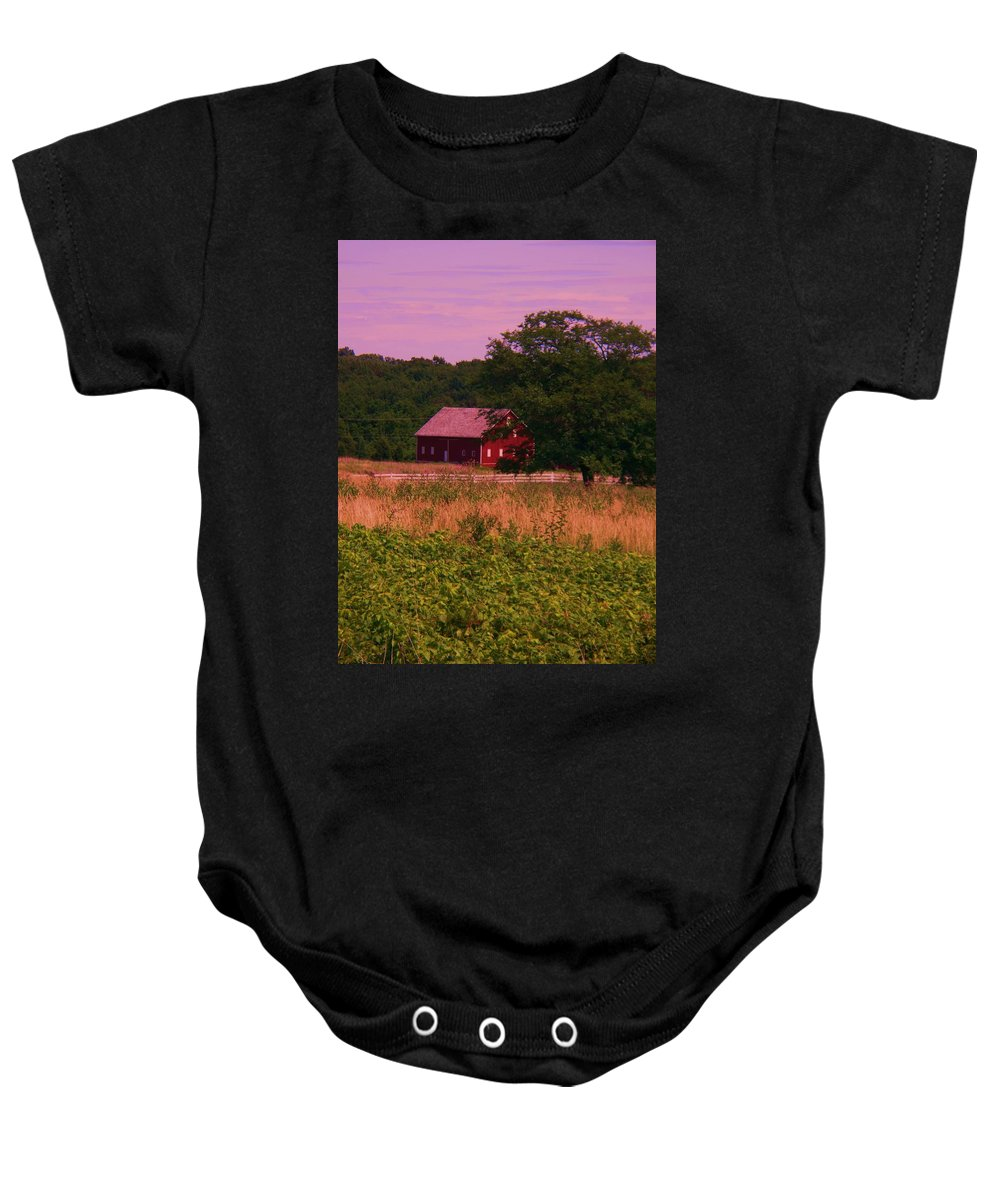 Gettysburg Baby Onesie featuring the photograph Gettysburg Barn by Eric Schiabor