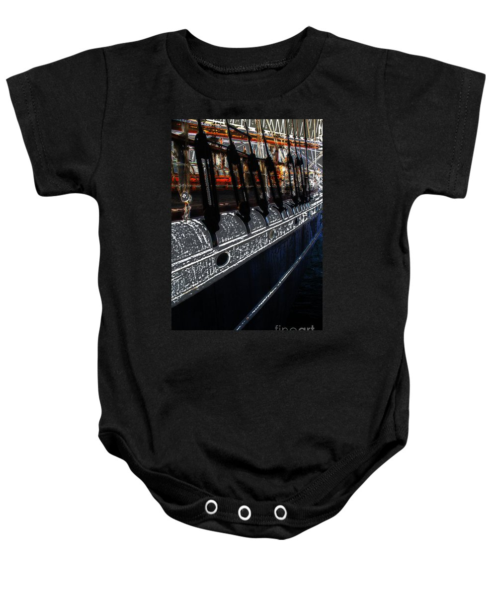 Star Of India Baby Onesie featuring the photograph Ghost Ship by Linda Shafer