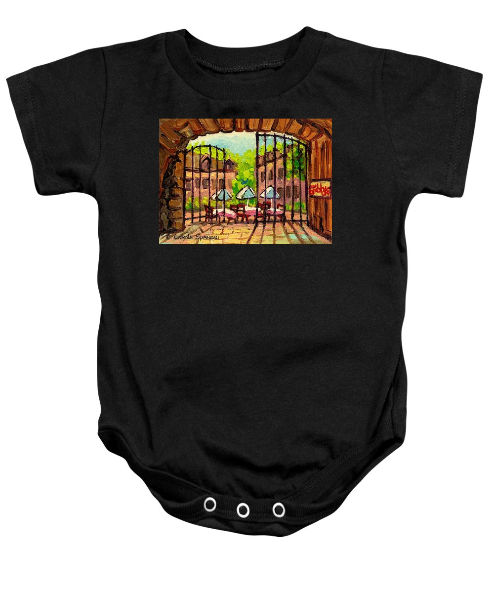 Gibbys Baby Onesie featuring the painting Gibbys Restaurant In Old Montreal by Carole Spandau