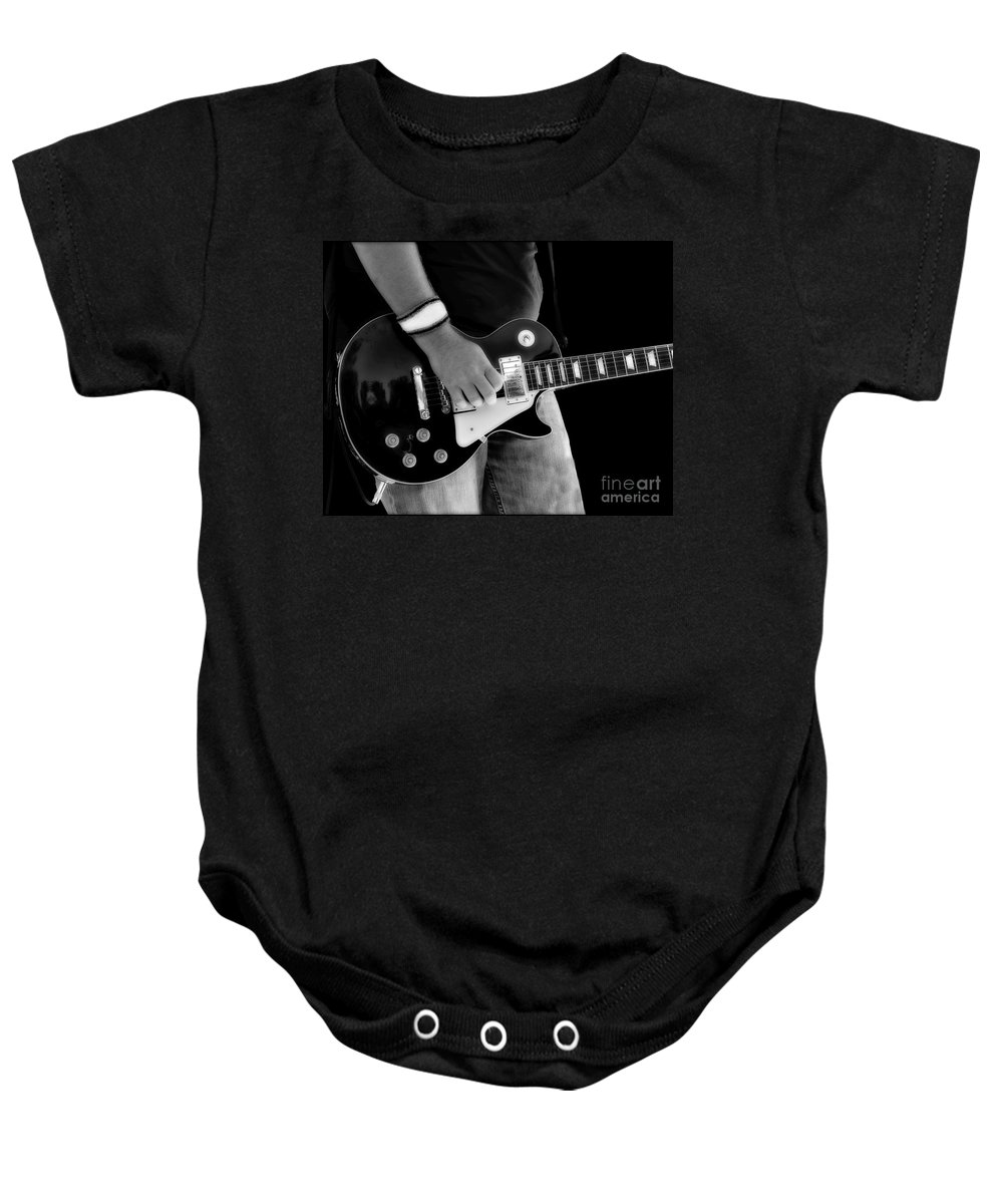Gibson Baby Onesie featuring the photograph Gibson Les Paul Guitar by Randy Steele
