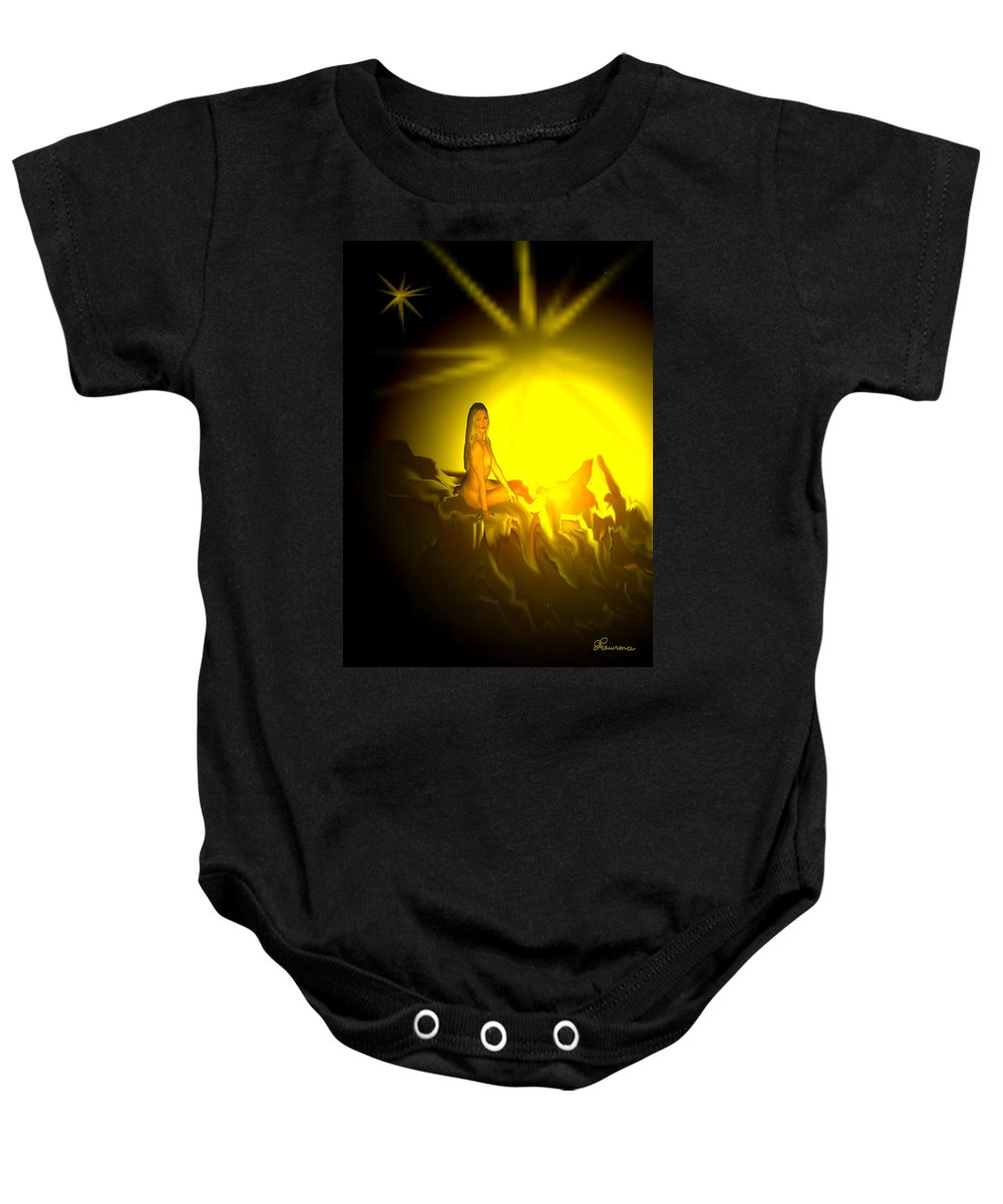 Nude Naked Sun Drawing Digital Mountain Earth Star Woman Baby Onesie featuring the digital art Gift Of Sun by Andrea Lawrence