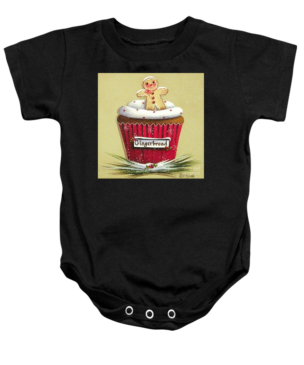 Art Baby Onesie featuring the painting Gingerbread Cookie Cupcake by Catherine Holman