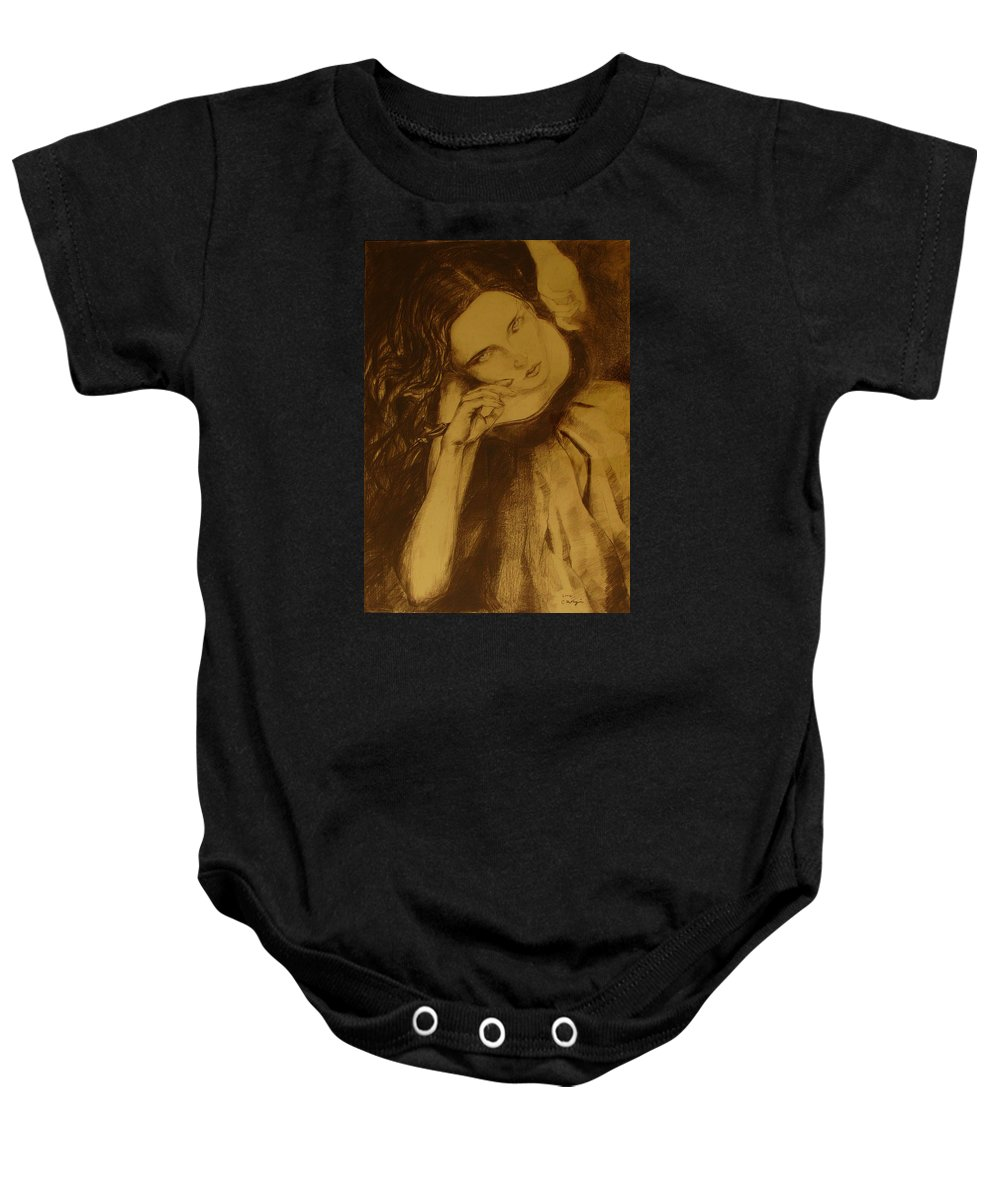 Art Drawings Baby Onesie featuring the drawing Girl Dancing by Cristina Rettegi