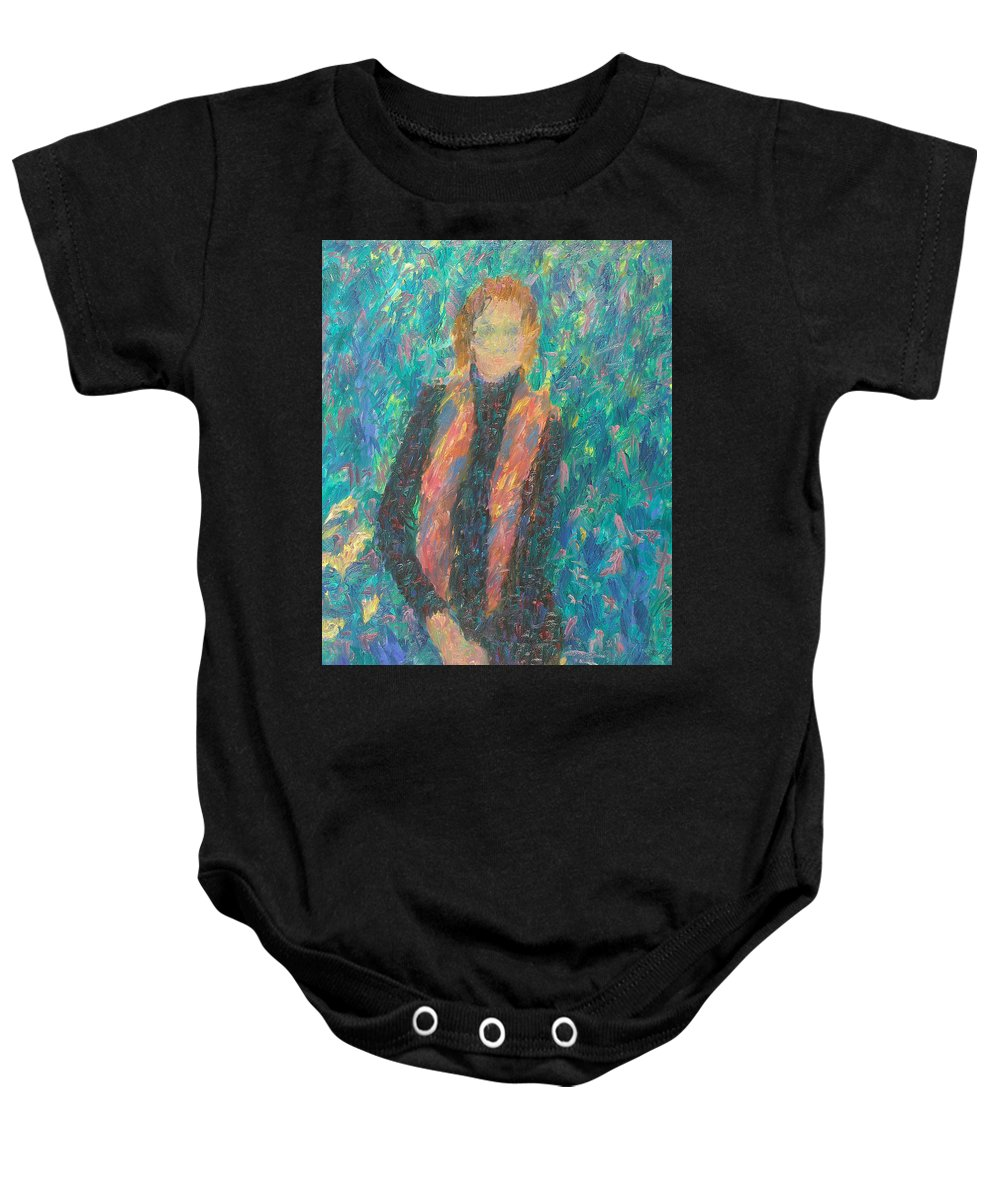 Beauty Baby Onesie featuring the painting Girl by Robert Nizamov