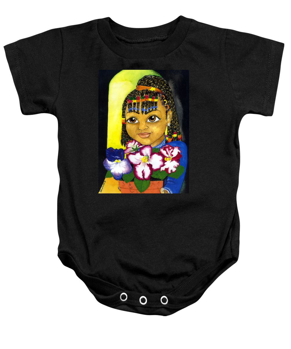 Girl Baby Onesie featuring the painting Girl With African Violet by David Willis