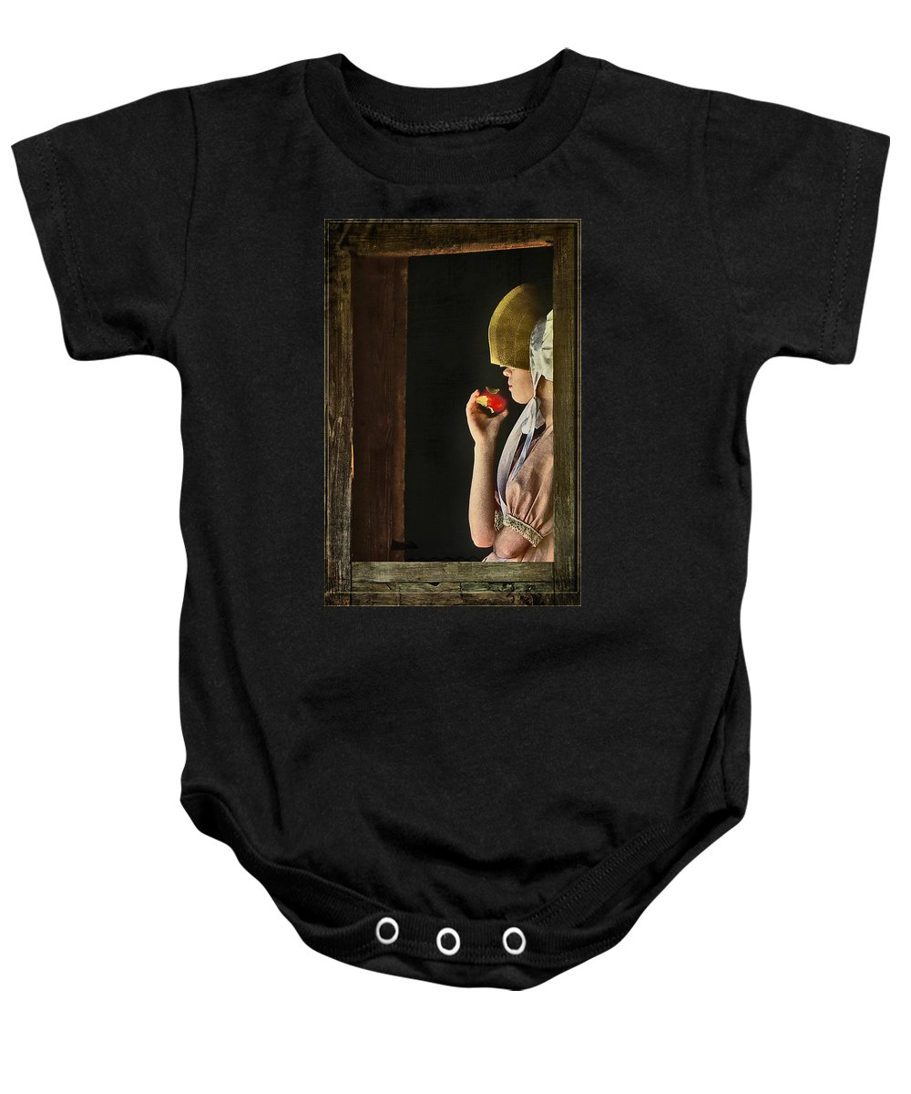 Portraits Baby Onesie featuring the photograph Girl With Apple by John Anderson