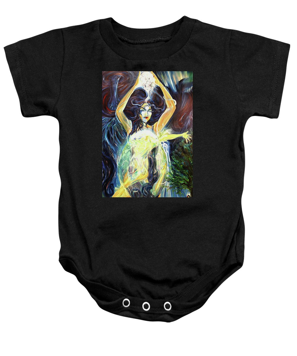 Goddess Baby Onesie featuring the painting Give To The Light by Jennifer Christenson