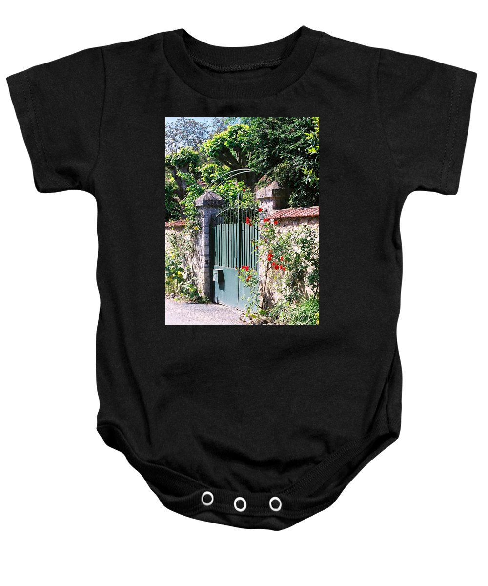 Giverny Baby Onesie featuring the photograph Giverny Gate by Nadine Rippelmeyer