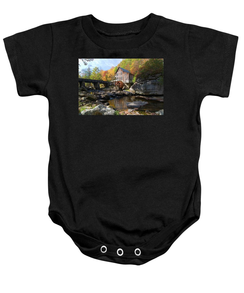 Mill Baby Onesie featuring the photograph Glade Creek Grist Mill by Steve Stuller
