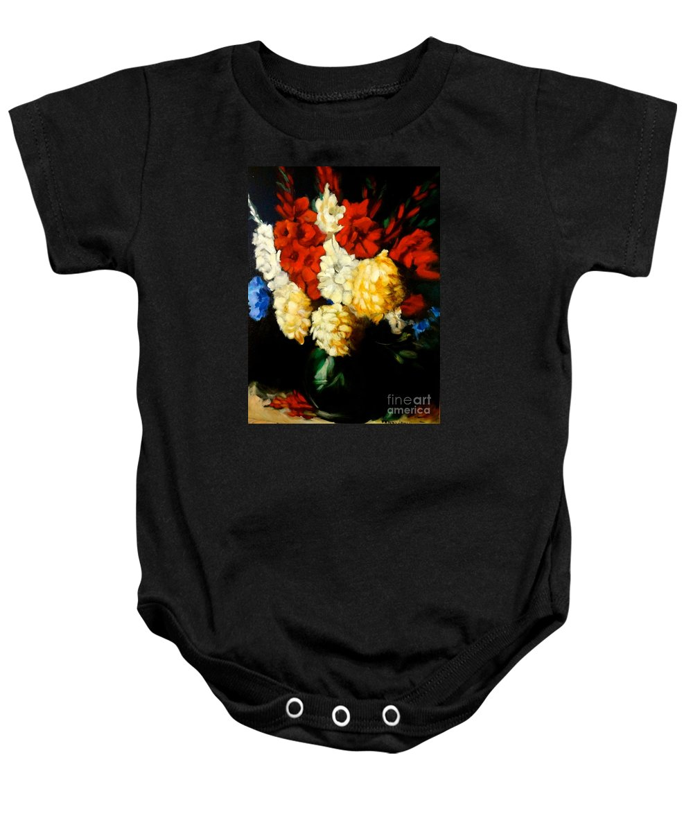 Floral Baby Onesie featuring the painting Gladiolas by Jenny Lee